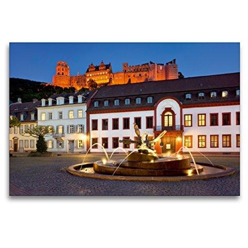 Premium Textil-Leinwand 120 x 80 cm Quer-Format Karlsplatz in Heidelberg   Wandbild, HD-Bild auf Keilrahmen, Fertigbild auf hochwertigem Vlies, Leinwanddruck von Jan Christopher Becke