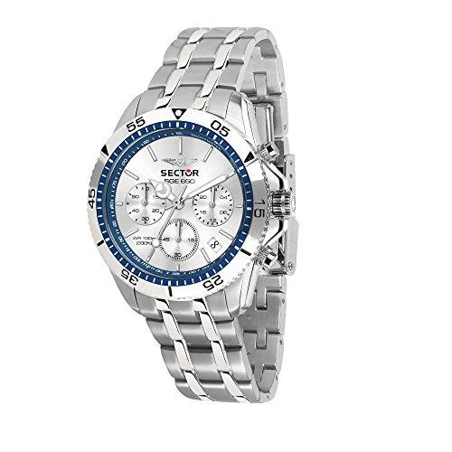 SECTOR NO LIMITS Herren Chronograph Quarz Uhr mit Edelstahl Armband R3273962003