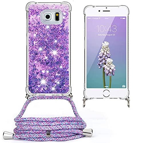 Mkej Funda con Cuerda para Samsung Galaxy S6 Edge, Carcasa Glitter Mujer Liquida Cristal Transparente TPU Silicona Case con Correa Colgante Ajustable Collar, [Flor Morada]