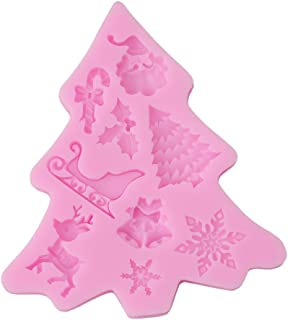 HS 1PC 3D Christmas Tree Mould Silicone Fondant Cake Suger Mold Cake Decoration (Pink) (style2)