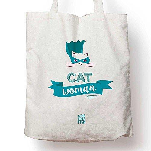 Cat Woman - Tote Bag, Sac Cabas, Sac de Course, Sac de Cours, Sac à Langer, Sac fourre-Tout, Sac en Toile, Sac Coton, Sac à Main, Cadeau Anniversaire