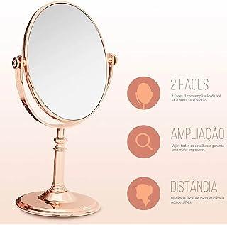 Espelho De Mesa Redondo Dupla Face Rose Maquiagem