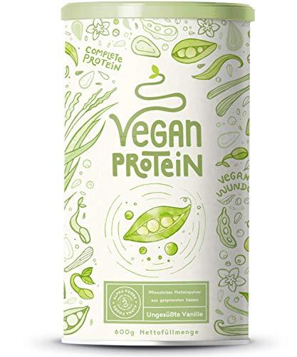 Vegan Protein | UNGESÜßT | Pflanzliches Proteinpulver aus gesprosstem Wildreis und Erbsen | 22g Protein pro Portion | 600 Gramm Pulver