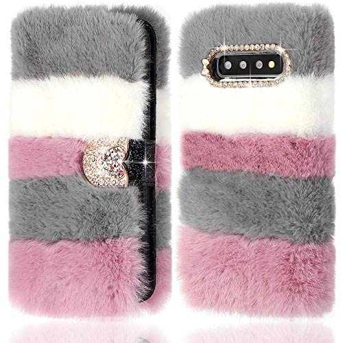 LLZ.COQUE for Samsung Galaxy S10 Plus Case Super Soft Faux Fur Leather Wallet Cover Glitter Sparkle Diamante Buckle TPU Inner Shell Cute Furry Flip Phone Case for Samsung Galaxy S10 Plus Collage Grey