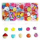 GLOBALDREAM Botones Infantiles, 240 piezas Botones de Resina Botones de Colores con Caja de Plástico para Manualidades Coser Artesanía