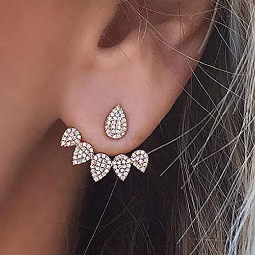 XKMY Pendientes de cristal para mujer, pendientes de doble cara, pendientes de tuerca para mujer, pendientes de oreja de moda (color metálico: oro)