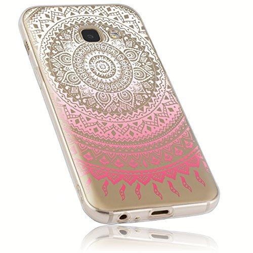 mumbi Hülle kompatibel Handy Hülle Handyhülle mit Motiv 21759-Samsung Galaxy A3 2017, Mandala transparent rosa
