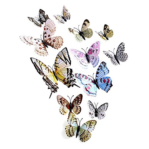 Vovotrade® 12 x 3D Papillon Wall Sticker Aimant Chambre Decor Decal Applique Butterfly Wall Sticker Fridge Magnet Room Decor Decal Applique (Multicolor)