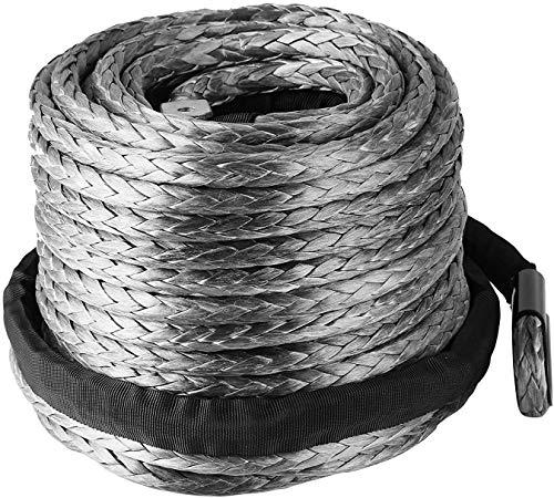VEVOR Cuerda de Cable de Cabrestante Sintética, 28,95 m x 9,5 mm Fuerza de Resistencia 20500 lb Línea de Cabrestante Sintética, Peso Bruto 4 kg Gris Cuerda de Cabrestante Sintética para Camión ATV