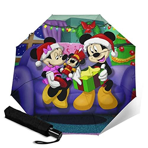 Paraguas de Mickey Cartoon Minnie Mouse de tres pliegues automáticamente abre y cierra plegable de viaje protección UV y cómodo de llevar