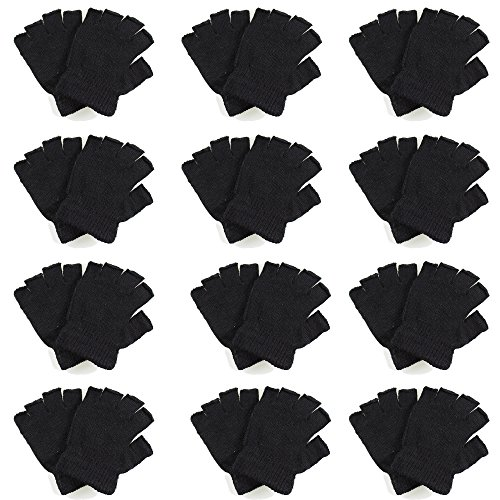 Gelante Classic Adult Winter Fingerless Knitted Magic Gloves Wholesale Lot 12 Pairs- 9907-Black