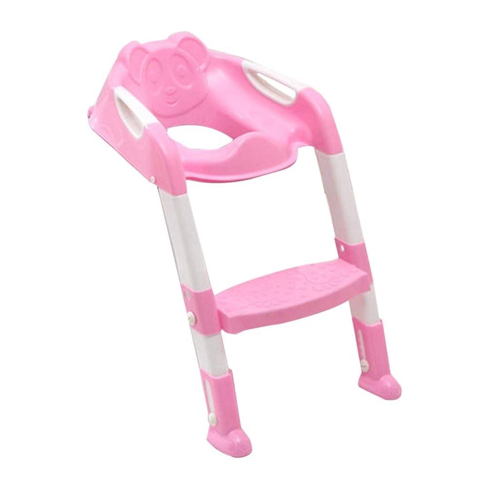 後悔止まる上がる折り畳み式子供トイレシート付きラダーカバーPPトイレ調節可能チェアおしっこトレーニング便器シートトイレ用男の子女の子 (色:黒) (PandaW)