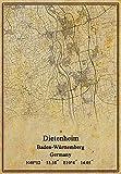 Leinwanddruck, Motiv: Landkarte von Deutschland Dietenheim Baden-Württemberg, Vintage-Stil, ungerahmt, Dekoration, Geschenk, 50,8 x 76,2 cm