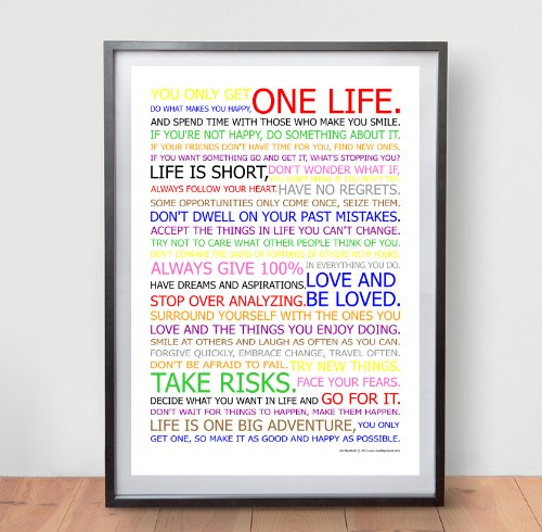 LIFE MANIFESTO POSTER - In Colour - Motivational Quote Wall Art Picture Print - Size A2 (420 x 594mm)