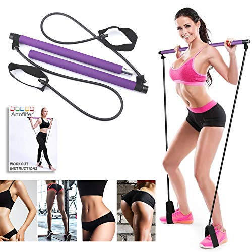 Artoflifer Exercise Resistance Band Yoga Pilates Bar Kit Portable Pilates Stick Muscle Toning Bar Home Gym Pilates with Foot Loop for Total Body Workout (Purple)
