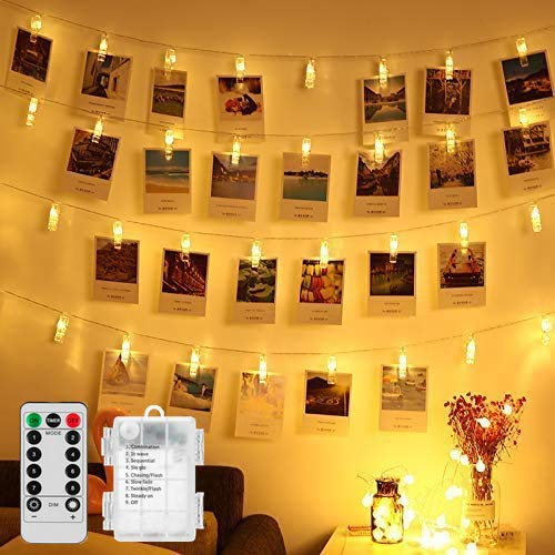 Product Image of the LED Photo Clips Remote String Lights, Magnoloran 50 LED Fairy Twinkle Lights,...