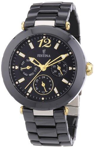 FESTINA F16641/4 - Reloj analógico de Cuarzo para Mujer con Correa de cerámica, Color Negro