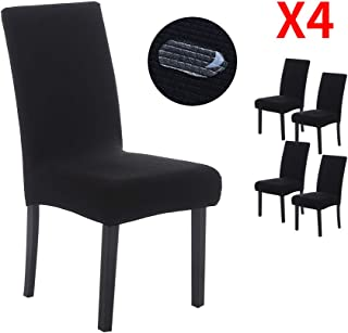 YIMEIS Waterproof Comfort Dining Chair Slipcovers, Stretch Water Repellent Dining Chair Protector, Removable Washable Short Dining Chair Covers for Kitchen, Office, Ceremony (Pack of 4, W_Black)