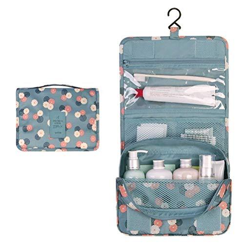 Discoball Trousse de toilette et maquillage portable et pliable pour voyages Trousse de toilette à crochet, bleu/fleur (Blue Flower) - 57962