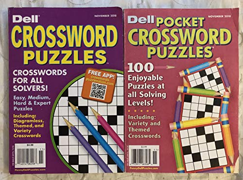 Lot of 2 Dell Pocket Sunday Crosswords Puzzles Crossword Puzzle Books 2018