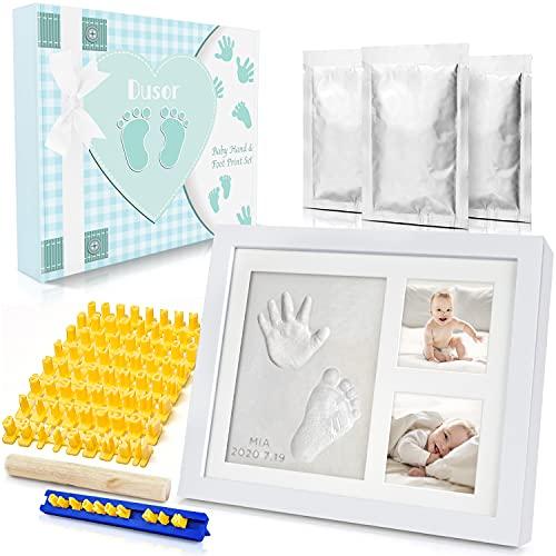 Dusor Baby Handabdruck und Fußabdruck Set, Gipsabdruck Baby Hand und Fuß mit Buchstaben Set und Bilderrahmen, Baby Geschenk Junge, Geschenke zur Geburt, Erinnerungen für die Ewigkeit