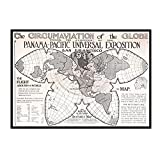 IUYTRF Mapa de circuitos del mundo 1915 Clásico Vintage Retro Kraft Cartel decorativo Mapas Barra de inicio -50X70 cm Sin marco 1 Uds