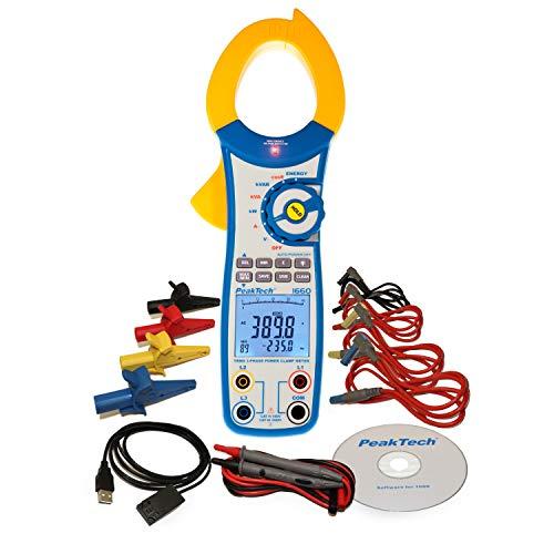 PeakTech 1660 – Pinza amperimétrica con USB, 1000 A CA, 9999 cuentas, multímetro digital, pinza amperimétrica para kW, kWh, kVA, TUV/GS, voltímetro sin contacto, probador de continuidad