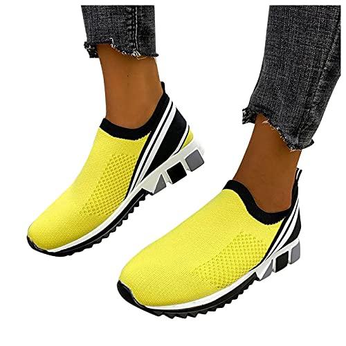 FeelFree+ Zapatillas de Deporte Casuales para mujer Zapatos Verano otoño de malla tejida voladora a la moda de malla transpirable de boca profunda Zapatillas Interior y exterior