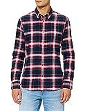 Marca Amazon - MERAKI Camisa Hombre, Multicolor (Red/blue/black), S, Label: S