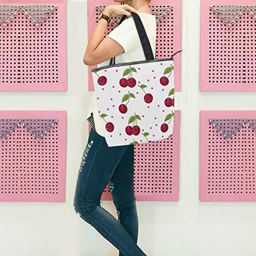 Gigijy Handtasche mit niedlichem Kirsch-Design, groß für Damen, Schultertasche, Reißverschluss, Einkaufstasche, Organizer, Taschen für Frauen, Top-Griff