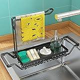 WeChip Organizador de Fregadero de Cocina,soporte de esponja,Telescópica de Acero Inoxidable Soporte y organizadore para utensilios,cesto de desagüe del fregadero para cocina y baño,Grande-negro.