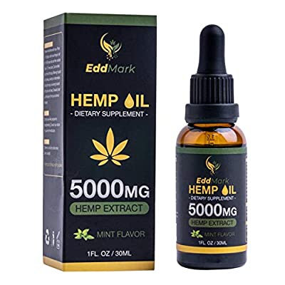 Hemp Oil Natural Dietary Supplement for Pain Relief and Anxiety-5000mg Hemp Oil Extract with Mint Flavor –30Ml All-Natural Organic Hemp Drops by EddMark