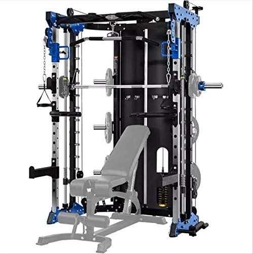 Commercial Home Gym - Smith Machine, Cables with Built in 160 kg Weights (Regular Blue)