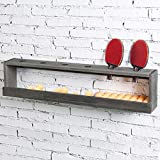 MyGift Wall Mounted Vintage Gray Wood Ping Paddle Display Rack with Ball Storage Shelf