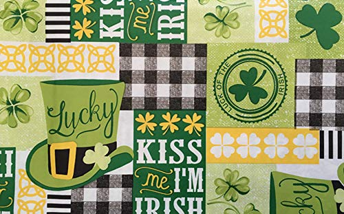 St. Patrick's Day Lucky Green White Shamrock Clovers Checkered Plaid Vinyl Flannel Backed Tablecloth (52x90 Oblong)