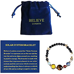 Believe London Solar System Bracelet With Jewellery Bag & Meaning Card | Adjustable Bracelet To Fit Any Wrist | 9 Planets Galaxy Universe Guardian:Maxmartyn
