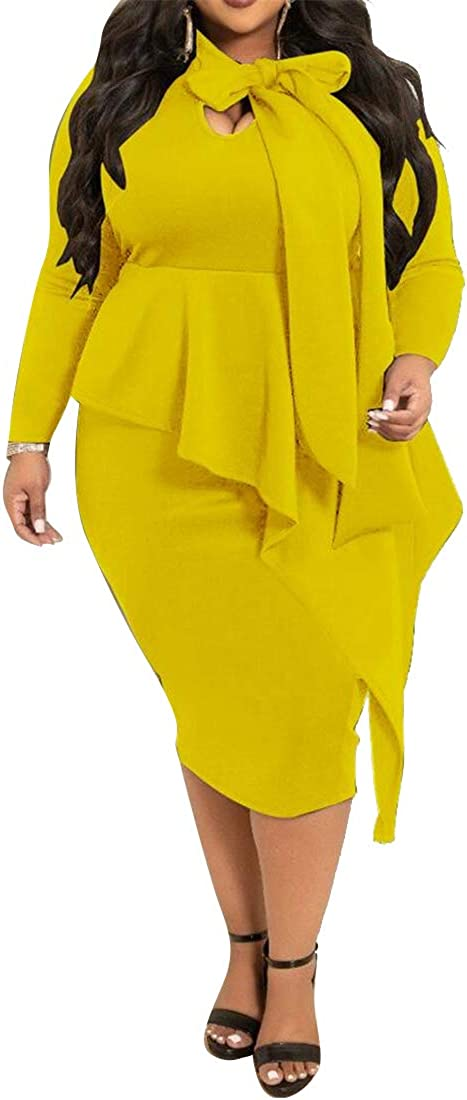 XiaoTianXinWomen XTX Women Long Sleeve Bow Tie Solid Plus Size Bodycon Cocktail Party Midi Dress Yellow 2XL