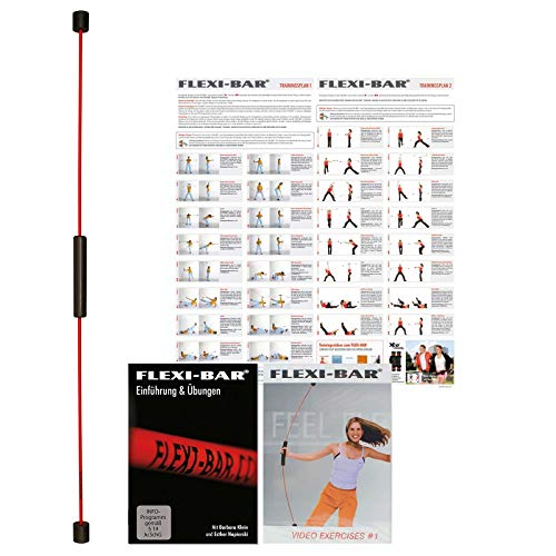 FLEXI-BAR® Standard Rot, hochbelastbarer Schwingstab von Flexi-Sports mit Einführungs-DVD, DVD Exercise und Trainingsplan, Schwungstab, Schwingstick