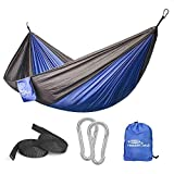 Forbidden Road Hammock Single Double Camping Lightweight Portable Hammock for Outdoor Hiking Travel Backpacking - Nylon Hammock Swing - Support 400lbs Ropes Carabineers 11 Colors (Blue Grey)