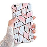 MoreChioce Funda compatible con iPhone 6S, iPhone 6, funda con lentejuelas, dorado mate, mármol brillante, cristal flexible, gel de silicona