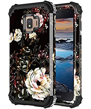 Lontect for Samsung Galaxy J2 Core Case J2 2019 Case J2 Pure/ J2 Shine/ J2 Dash/ J260 Phone Case Floral Shockproof Heavy Duty 3 in 1 Hybrid Sturdy Protective Cover Case White Flower/Black