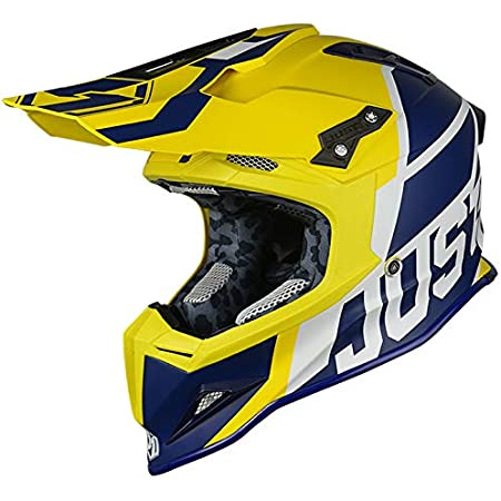 JUST1 J12 Unit Carbon Fiber Shell Off-Road Adult Motorcross Motorcycle helmet (Flat White, Carbon Unit Blue Yellow-Small)