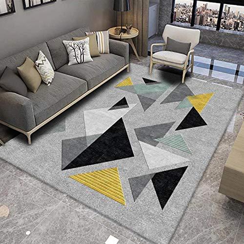 Modern Designer Rug Kurzflor rutschfeste Mat fürs Wohnzimmer, Schlafzimmer,Schwarz grau gelb grün geometrisch 200X300CM(6.6ft x 9.8ft)