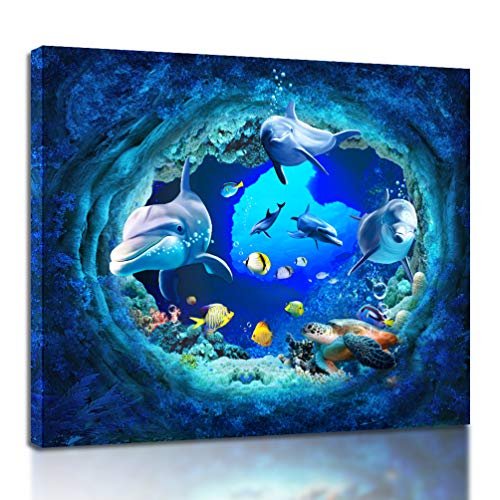 Seascape Wall Art Prints Underwater World Dolphins Turtle Mural - HD Printed Aquarium Poster Modern Home Decoration Living Room Bedroom Kitchen Bathroom Office (20x24 inches)