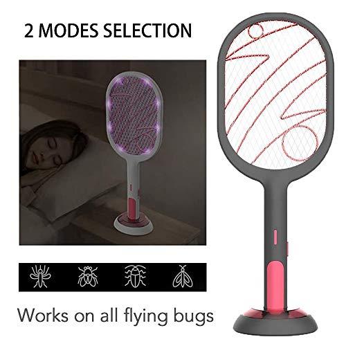 Dysel Fliegenklatsche Elektrisch Insektenvernichter USB Lampe, LED Insektenfalle UV-Licht Mückenklatsche Fänger, Universalabwehr Insektenschläger für Außen und Drinnenblack