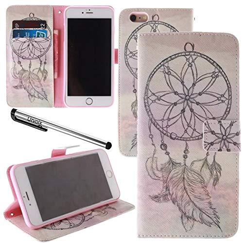 Ximger - Funda para iPhone 7/8 Iphone7/8plus Iphone6s/6plus Iphone6/6s Iphone5s/se, Sketch Dream Catcher de piel sintética con tapa para tarjetero, cierre magnético, función de soporte