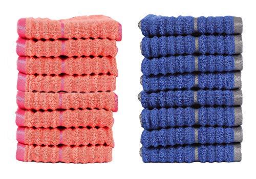 CASA COPENHAGEN Linea a Costine Zero Twist Cotone 16 Pezzi Asciugamani (Panno di Lavaggio) Combo, Corallo di Fusione & Zaffiro Profondo