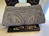Artcraving Womens Handmade Faux Leather Vintage Crystal Purse/Handbag with Beaded Clutch, Zip Closure, Bridal Bag for Holiday, Special Occasions, Evening Art Piece (Grey)