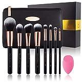 Ensemble de pinceaux de maquillage Oscar Charles - pinceaux de maquillage professionnel, 8 pièces, mixeur de beauté et trousse de maquillage de luxe dans un magnifique coffret cadeau