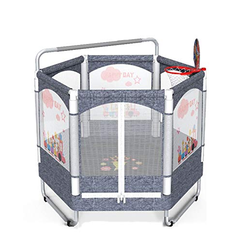 TRAMPOLINE AGYH 50in For Children, Printed Pattern Protection Net, Home And Kindergarten Fitness Equipment With Pull Up Bar And Basketball Stand